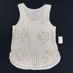 Lucky Brand Ivory Cream Gold Floral Tunic Tank Top